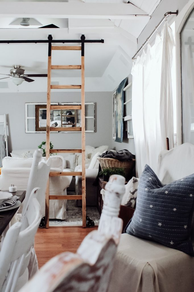 Diy Sliding Library Ladder Tutorial Two Paws Farmhouse